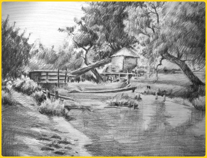 sketsa gambar pemandangan alam sungai