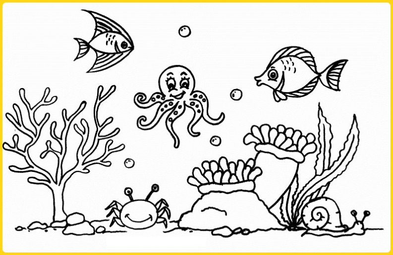 sketsa gambar pemandangan bawah laut cantik