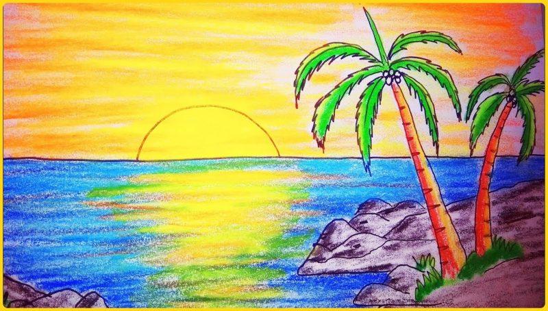 sketsa gambar pemandangan berwarna