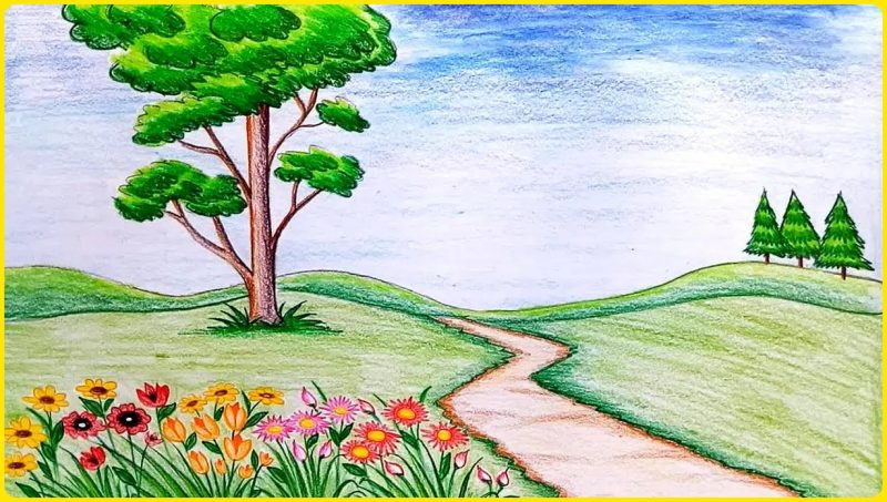 sketsa gambar pemandangan berwarna2