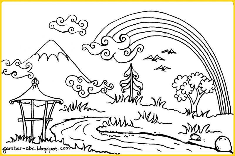 sketsa gambar pemandangan dan pelangi