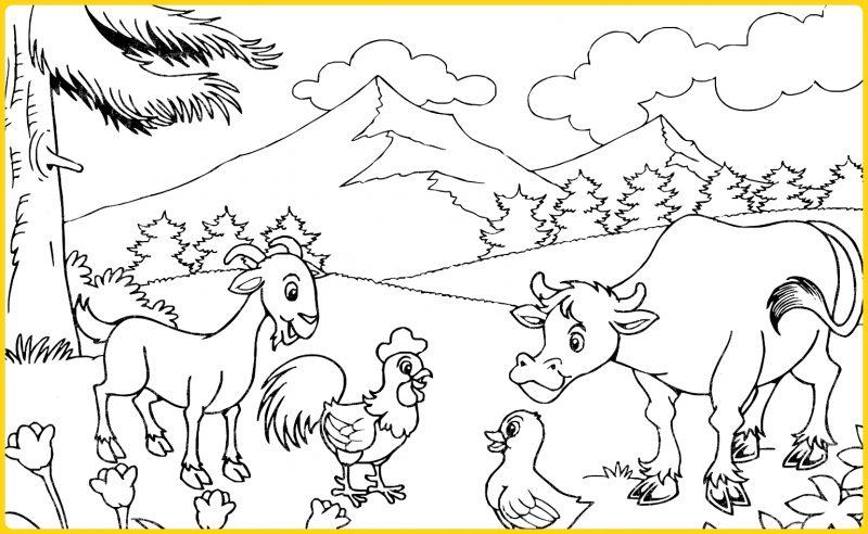 sketsa gambar pemandangan di sekitar pegunungan