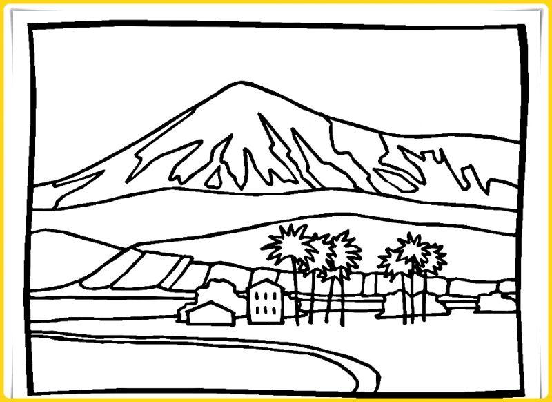 sketsa gambar pemandangan gunung berapi