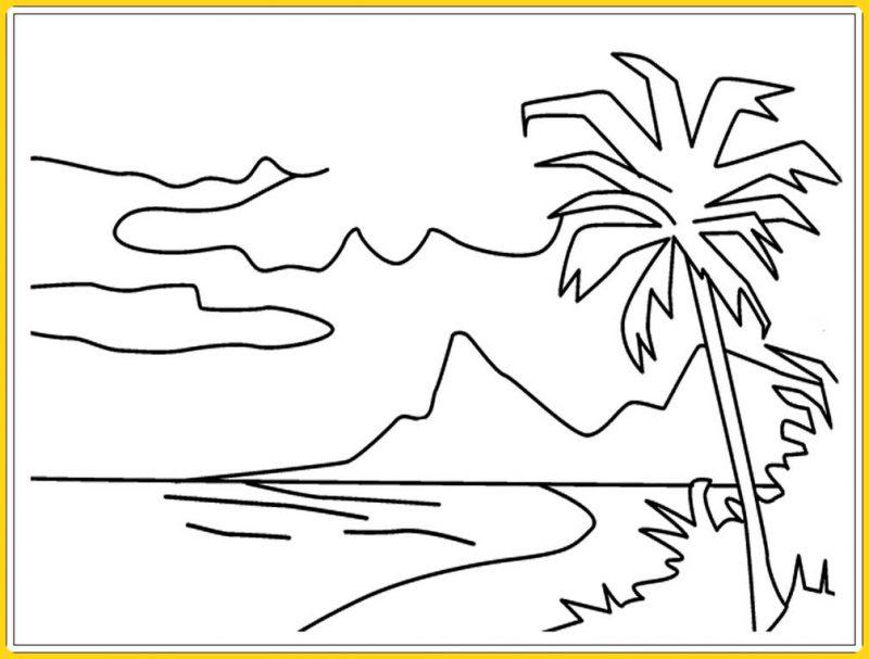 sketsa gambar pemandangan laut lepas