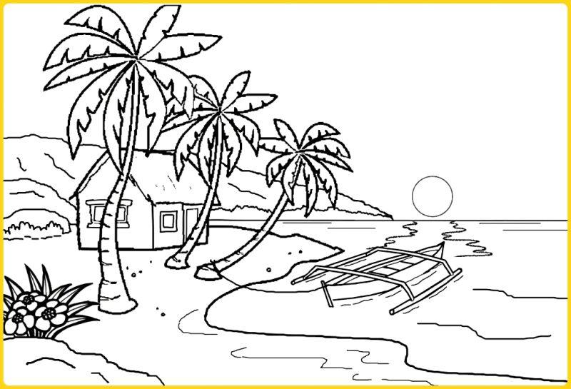 sketsa gambar pemandangan laut
