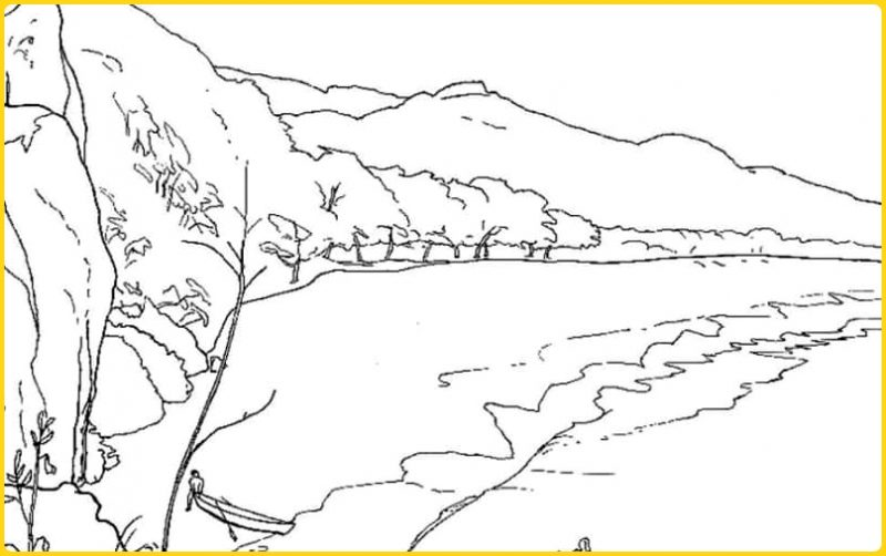 sketsa gambar pemandangan pantai dan pegunungan