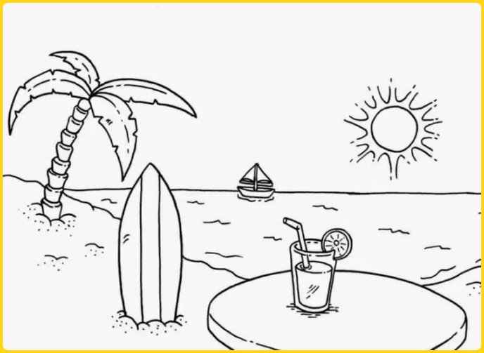 sketsa gambar pemandangan pantai dan sunset