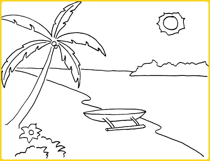sketsa gambar pemandangan pantai simpel