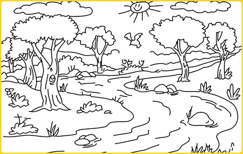 sketsa gambar pemandangan sungai di pegununagan