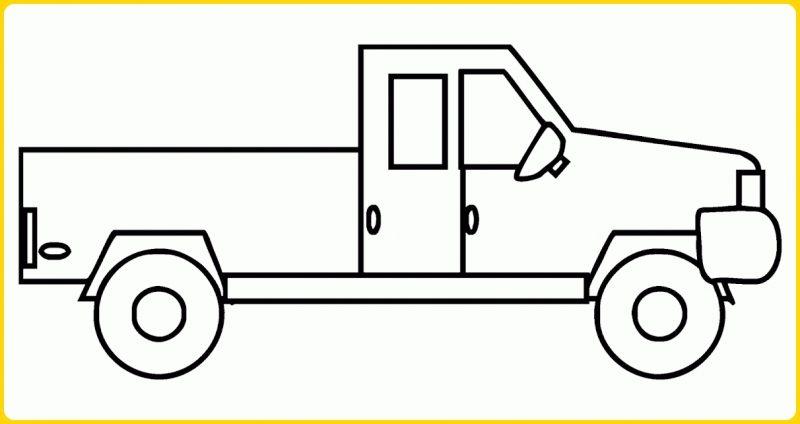 sketsa gambar untuk mewarnai mobil truk