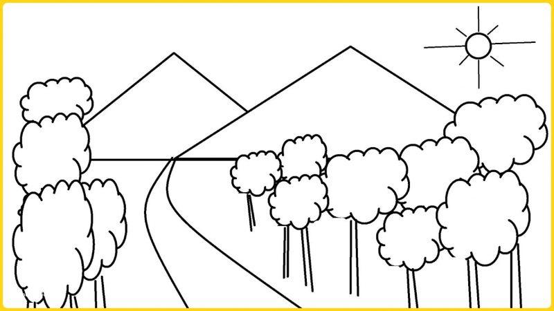 sketsa gsmbsr pemandangan sederhana