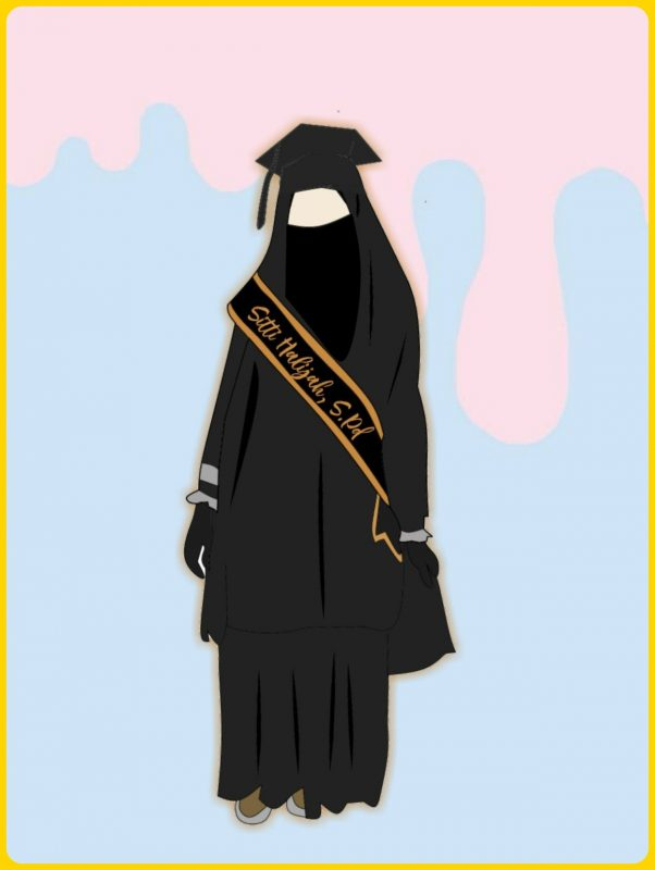 sketsa kartun muslimah wisuda