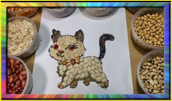 sketsa kucing untuk kolase dari biji bijian