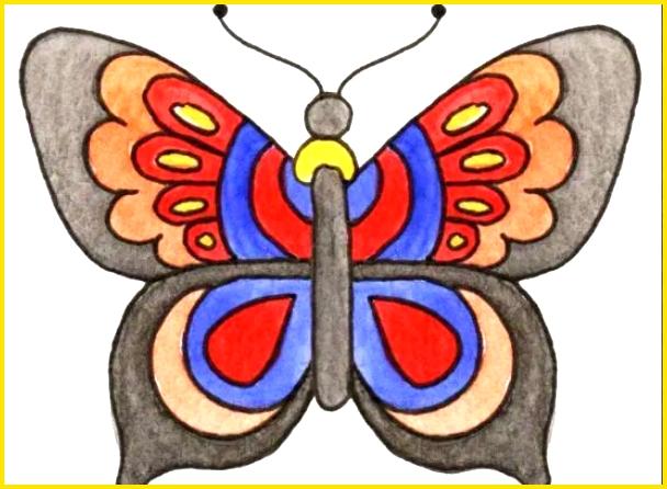 sketsa kupu kupu berwarna kreatif