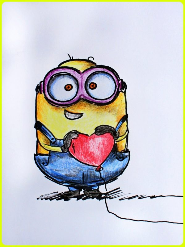 sketsa minion berwarna memegang hati