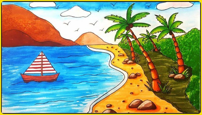 sketsa pohon kelapa di pantai indah