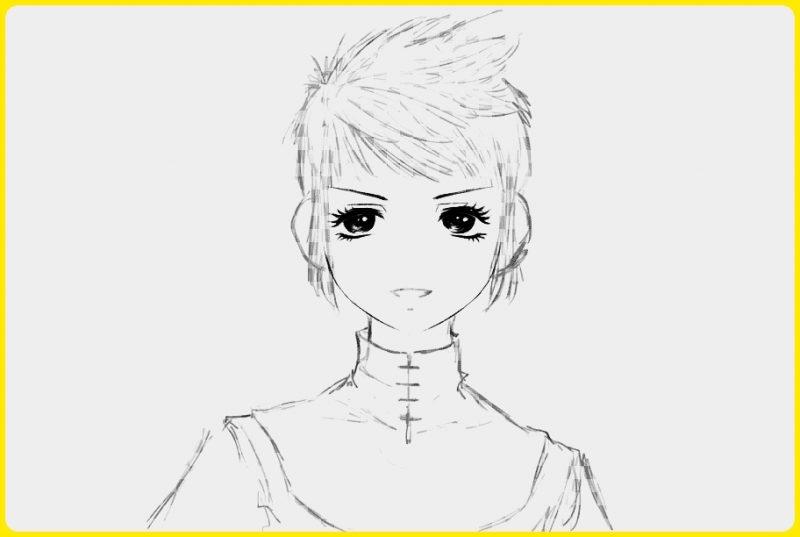 sketsa wajah anime laki laki