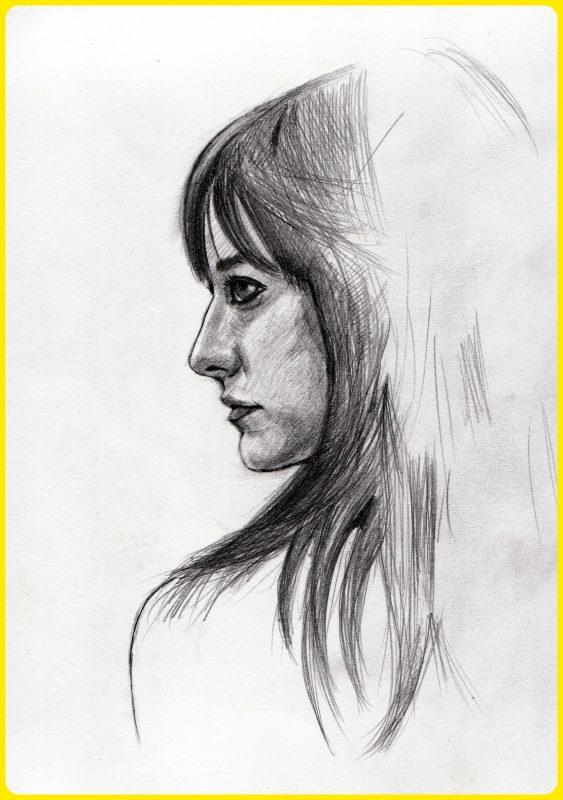 sketsa wajah dari samping perempuan