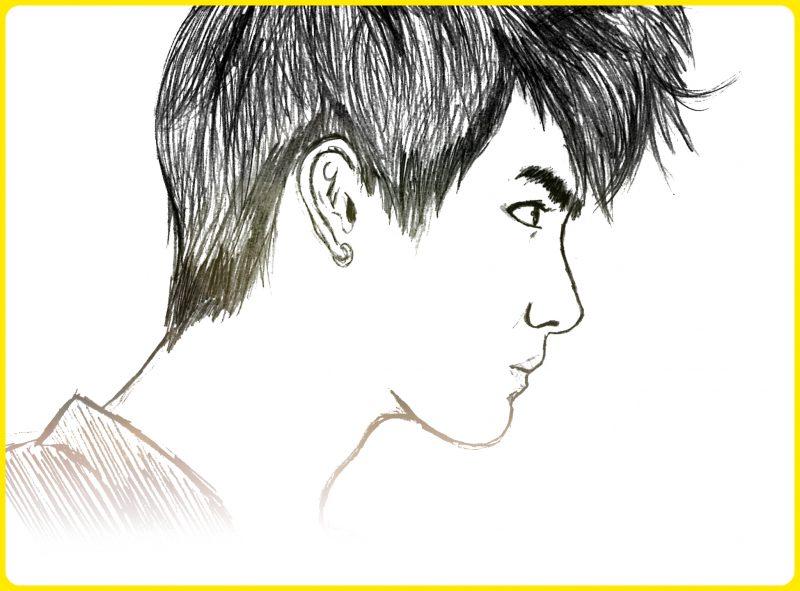 sketsa wajah dari samping