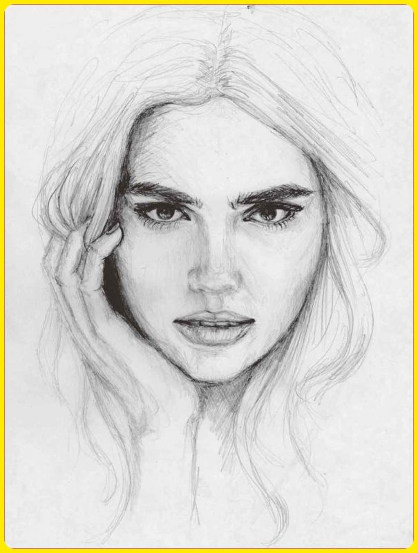sketsa wajah manusia berambut panjang