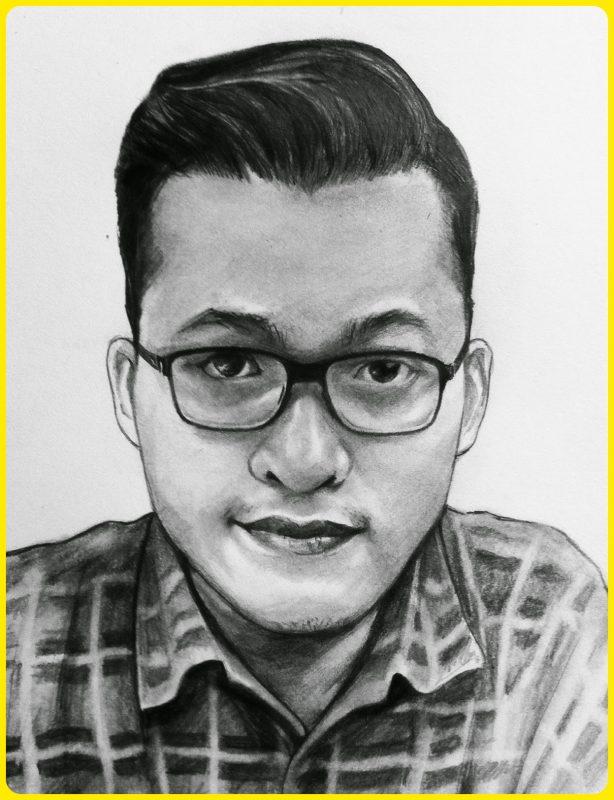 sketsa wajah pria berkacamata