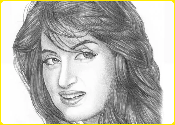sketsa wajah wanita cantik dari samping