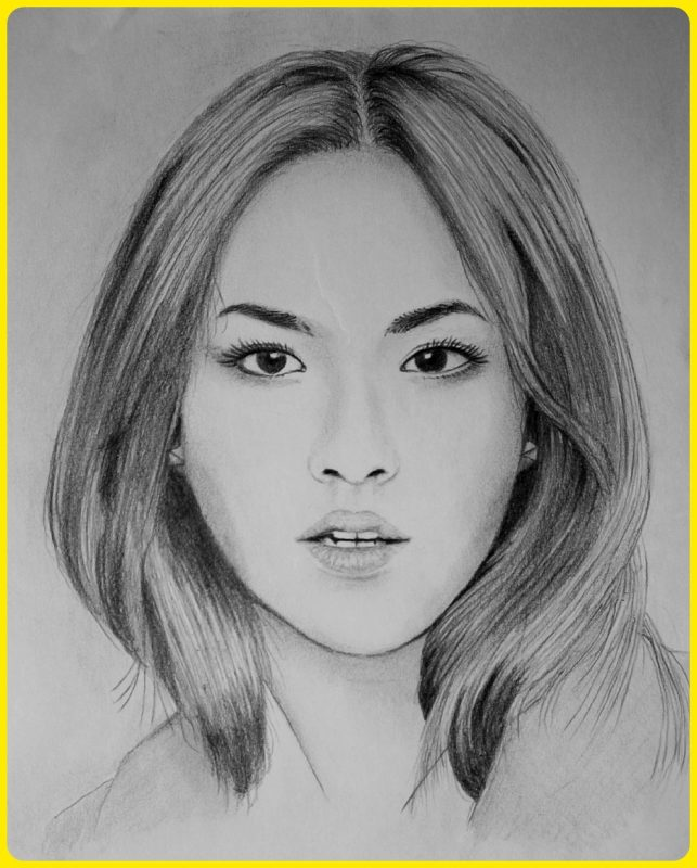 sketsa wajah wanita perempuan