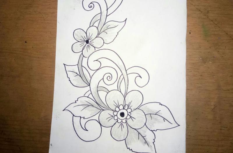 Gambar Sketsa Batik Bunga