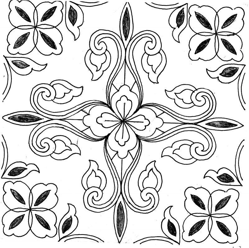 Gambar Sketsa Batik motif tanaman