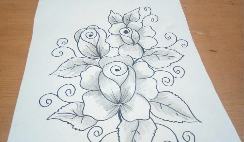Sketsa Batik Bunga Mawar