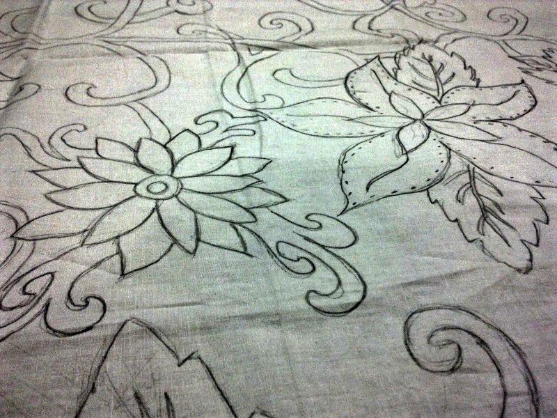 Sketsa Batik Tulis Bunga