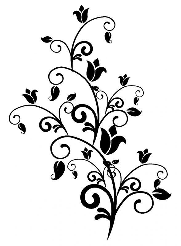 Sketsa Motif Batik Mawar Sederhana