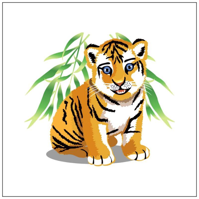 anak harimau kartun bermata biru