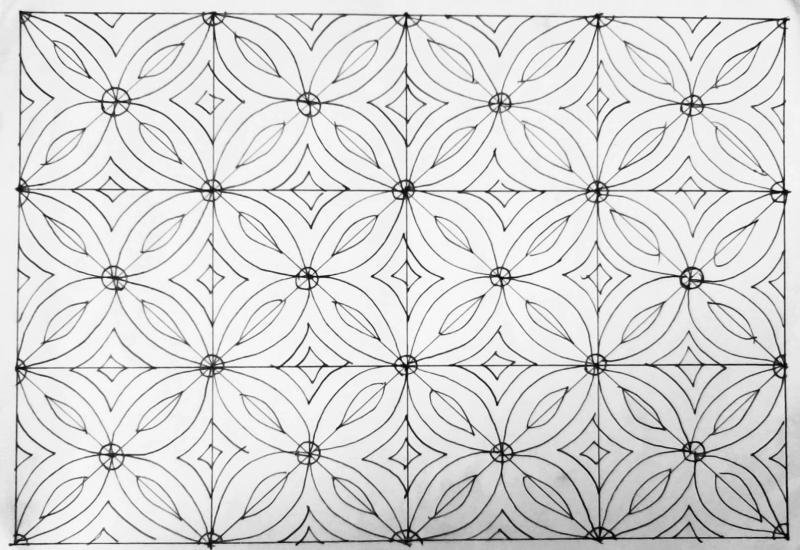 contoh gambar sketsa batik