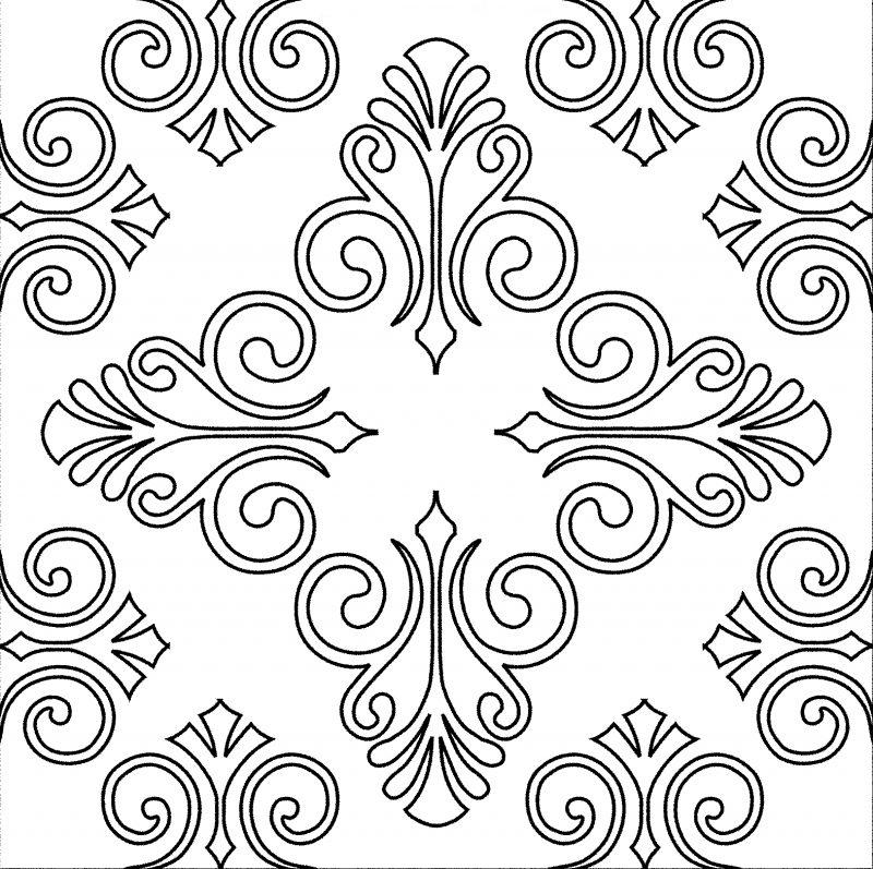 gambar sketsa batik Motif Lengkung dan Geometris