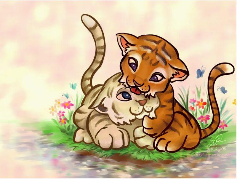 kartun anak harimaun imut dan lucu