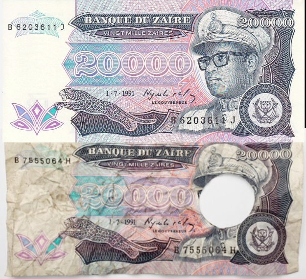 Pecahan Uang Bolong Zaire